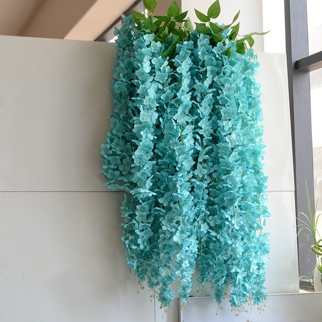 White Green Blue Purple Elegant Artificial Silk Flower Wisteria Vine Rattan For Wedding Decoration Bouquet Garland