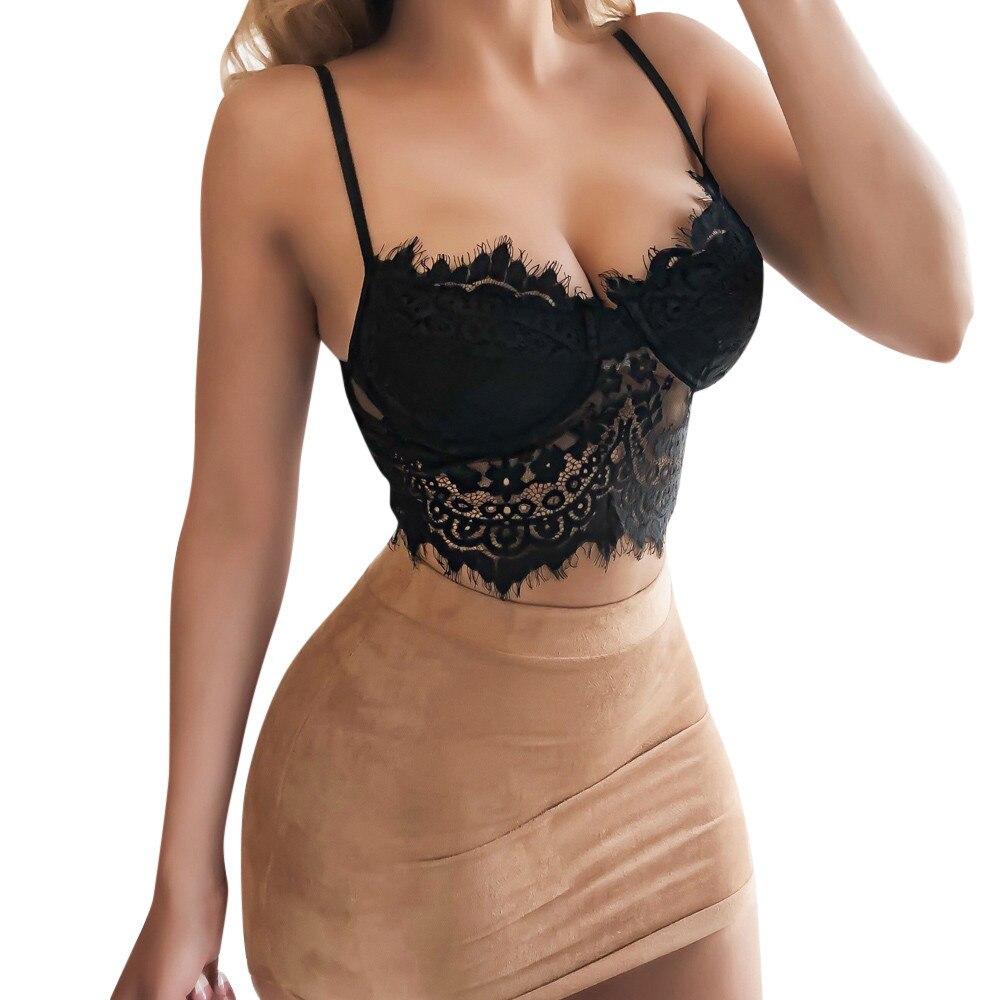 Sexy Women Floral Lace Bralette Bustier Crop Top Bra Shirt Vest Black Cropped Blusas Vest Halter Tank Haut Femme