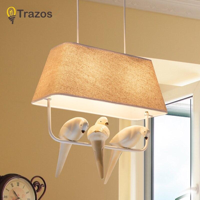 Vögel anhänger lichter vintage lampe harz vogel stoff lampenschirm ...