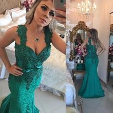 Fashion Green Appliques Spitze Nixe-abschlussball Sexy V-ausschnitt Backless Tank Formale Frauen Abendkleid Elegante Spitze Prom Kleider