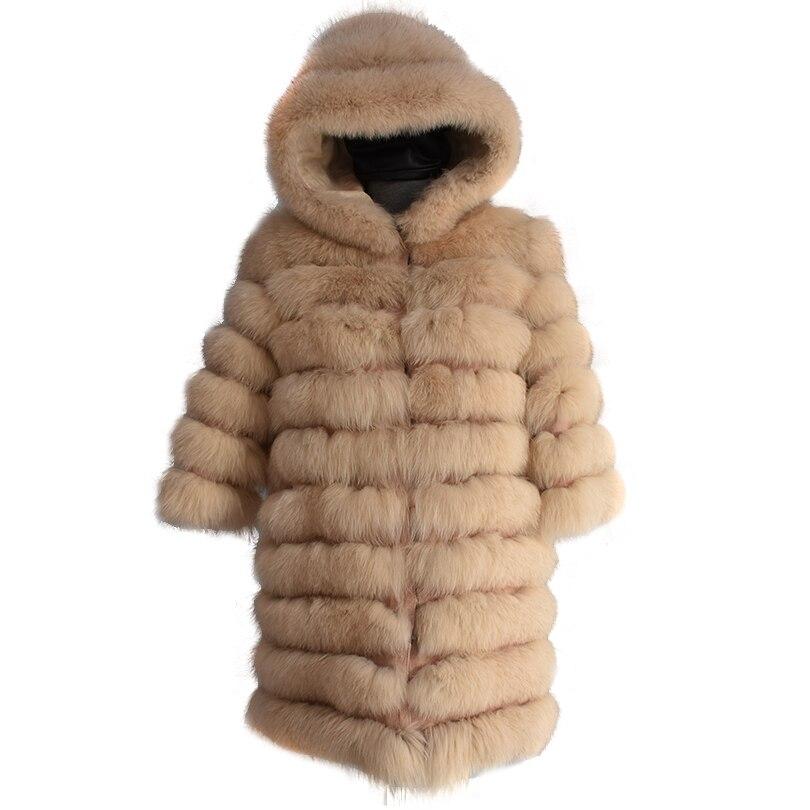 Naturale foxfur staccabile deformazione reale della pelliccia di fox tasca lungo cappotto della maglia della maglia di modo di spessore giacca calda giacca di lana maglia femminile