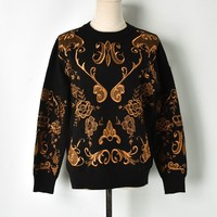 Luxury Brand Gold Thread Floral Embroidery Women Sweater Pullovers Ladies Runway Designer Knit Jumper Clothes Autumn Winter 2018