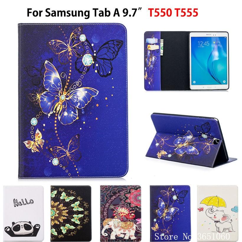 SM-T550 Cas Pour Samsung Galaxy Tab UN 9.7 SM-T555 T550 P555 Smart Cover Funda Tablet Mode papillon Peint Stand Shell capa