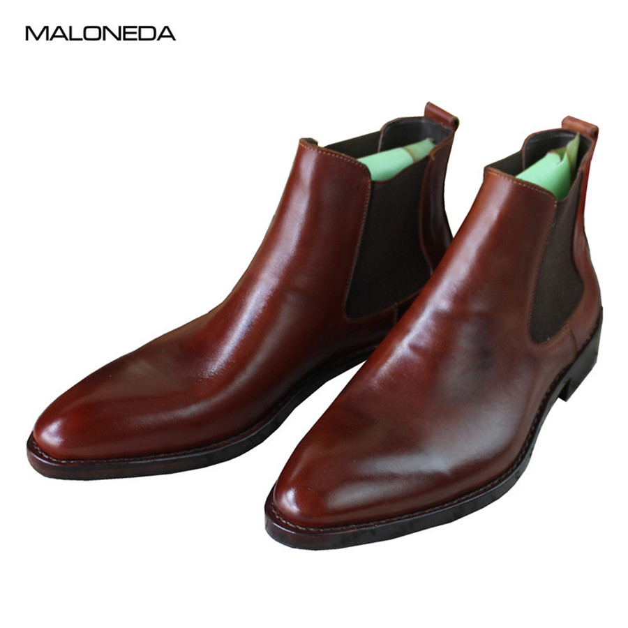 MALONEDE Bespoke High-Top Handmade Goodyear Genuine Leather Men's Outdoor Chelsea Ankle Boots Business Party Dress Boots Shoes