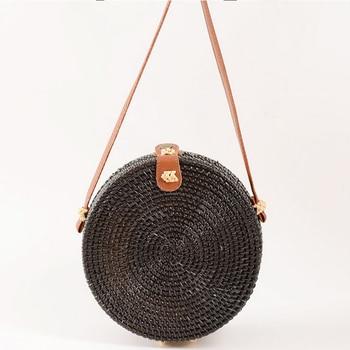 SUNNY BEACH Round Straw Bags Women  Rattan Bag Handmade Woven Beach Crossbody Bag Circle Bohemia Handbag Bali Summer Переносные часы