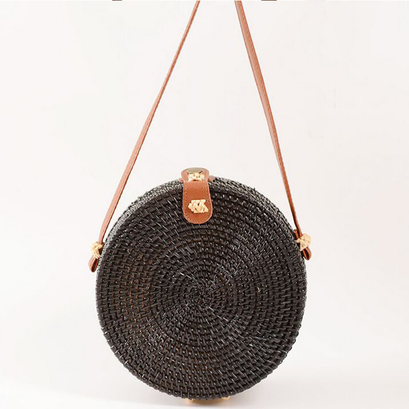 SUNNY BEACH Round Straw Bags Women  Rattan Bag Handmade Woven Beach Crossbody Bag Circle Bohemia Handbag Bali Summer marvel glass iphone case