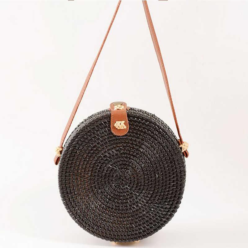 824c2a6d76bf SUNNY BEACH Round Straw Bags Women Rattan Bag Handmade Woven Beach  Crossbody Bag Circle Bohemia Handbag