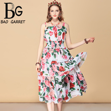 купить Baogarret Casual Holiday Summer Dress Women's Elastic Waist Rose Floral Print Chiffon Tiered Ruffles Elegant Dress онлайн
