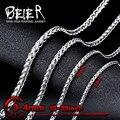 Beier 3/4mm colar de aço inoxidável colar de corrente da moda menino homem colar de corrente cor prata bn1006