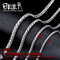 Beier 3/4mm stainless steel necklace  trendy chain necklace boy man necklace chain Silver Color  BN1006