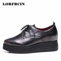BUSHENG 2017 Women Casual Shoe Genuine Leather Flat Platform Shoes Woman Flats Lace Up Loafers Black