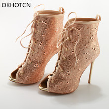 Sexy Peep Toe High Thin Heels Women Sandals Luxurious Bling Crystal Party Stage Ankle Boots Gladiator Shoes Women zapatos mujer