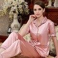Venda Rosa Casal Pijama Emulação de Cetim de Seda Das Mulheres conjuntos de Pijama Homens Pijamas de Manga Curta de Alta Qualidade Turn-Down Collar Sleepwear