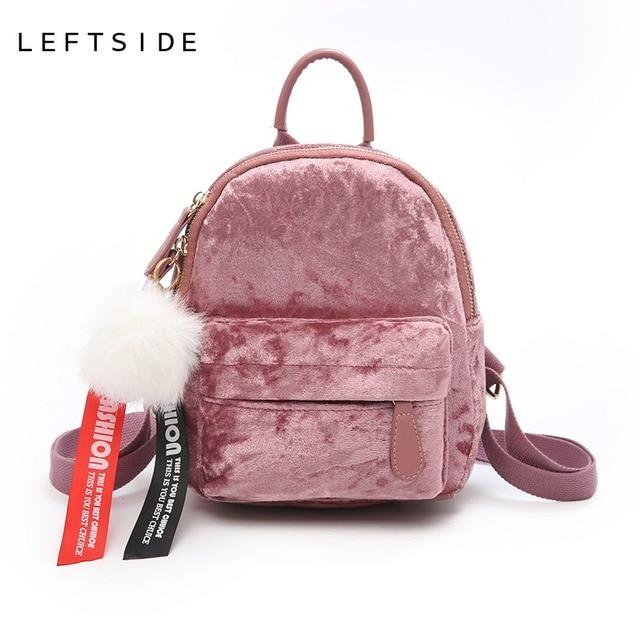 84f3d15f2a LEFTSIDE Mini Velvet Backpack Bag Female Cute Backpacks High Quality Back  Pack For Girls Gift Women s
