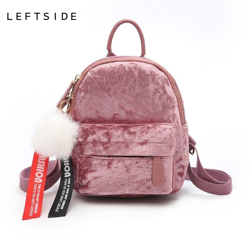 4291583fb6d6 LEFTSIDE мини бархатный рюкзак сумка женские милые рюкзаки высокое качество  Back Pack для девочек подарок женский маленький рюкзак корейский 2018 купить  на ...