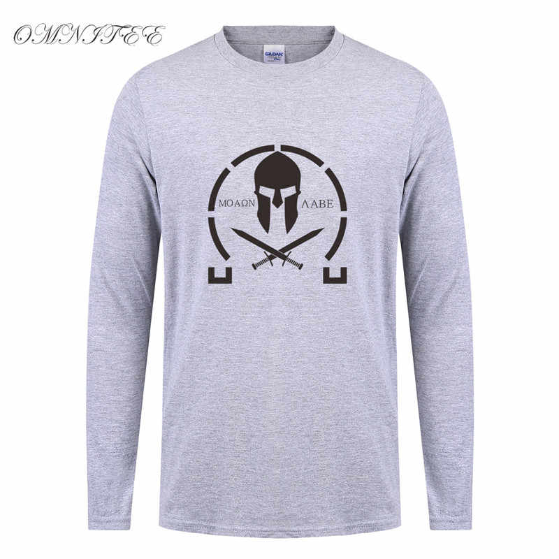 c5bf63a0 ... Spring Molon Labe T Shirt Men New Printed T-shirt Cotton Long Sleeve O-  ...