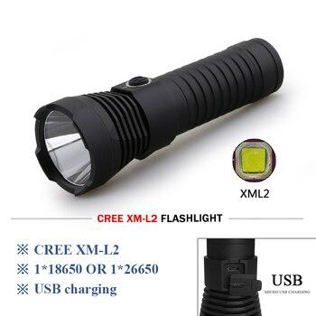 8f4a63da7 Potente led linterna USB antorcha xm l2 linterna led linterna lanterna  militar lámpara impermeable 26650 o 18650 de zaklamp