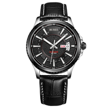 BUREI Sport Automático Reloj de Zafiro De Lujo Hombres de Negocios Relojes de Moda Negro de Cuero Genuino Impermeable Horas Reloj Relogio
