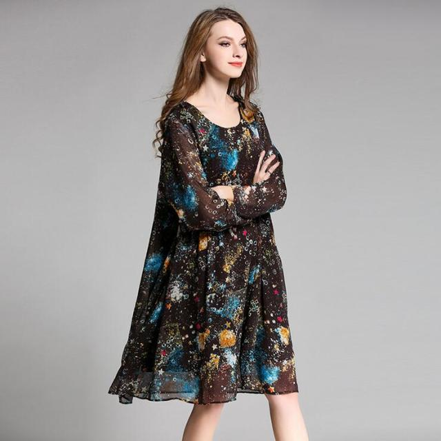 4XL Plus Size Chiffon Dress 2017 Spring Fashion Star Printing Long Sleeve  Loose Ladies Dresses Black Coffee Women Dress Vestidos 4b3fd9f0c7fc