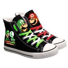 Cute Super Mario Printed Sneakers Women Men Canvas Shoes Cartoon Casual
