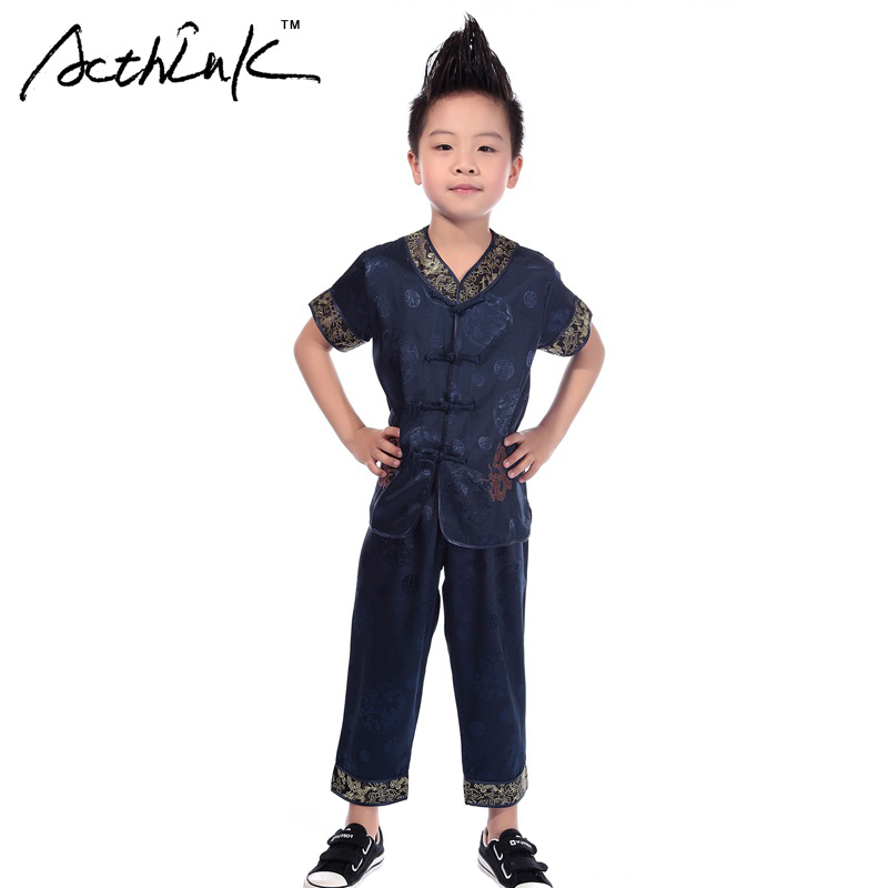 ActhInK 2017 New Boys 2PCS Kung-Fu Costume Suit Brand Chinese Traditional Tang Suit for Boys Kids Performance Clothing Set,MC086 fu rong tang manual toothpaste 160g
