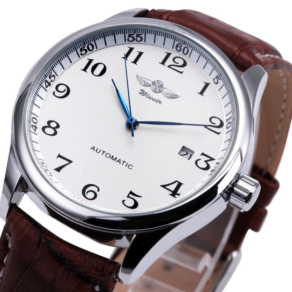 Mode-Business Männer Automatische Armbanduhren Lederband Männlichen Mechanische Uhren Kalender Datum Uhr montre homme + GESCHENK BOX
