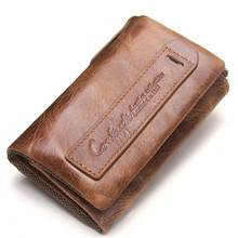 Luxury Leather Men Wallets with Coin Pocket Vintage Male Purse Function Brown Genuine Leather Men Wallet with Card Holders brand 2016 retro brown purse wallet men genuine leather vintage wallet organizer card holders dollar price for gift li 1452