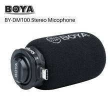 BOYA BY DM100 Digital Stereo Phone Microphone Condenser Android Record Microphone with Type C Port for Recording Interview Live