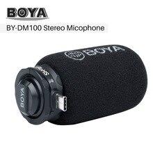 مكبر صوت رقمي بميكروفون ستيريو من BOYA BY DM100 يعمل بنظام أندرويد مع منفذ من النوع C لتسجيل المقابلة مباشرة