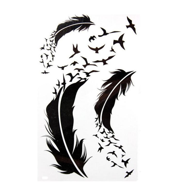 Tattoo Flash Wallpaper By Feathr: Aliexpress.com : Buy Black Waterproof Feather Temporary