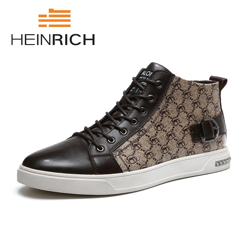 HEINRICH Top Quality Handmade Genuine Leather Men Shoes 2018 New Casual High-Top Work Non-Slip Shoes Chaussure Homme Haute