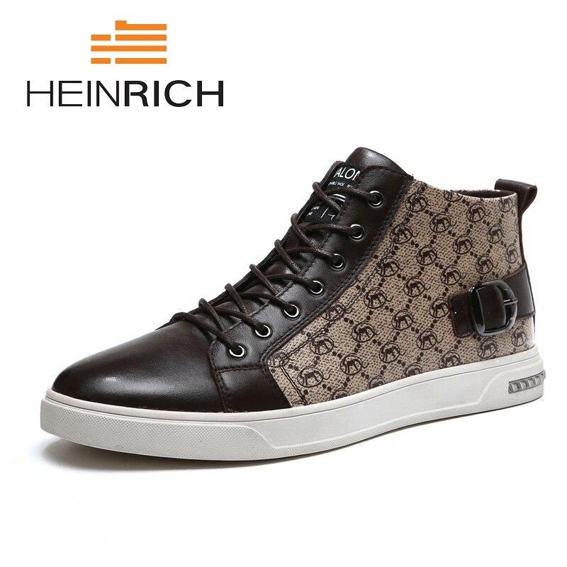Heinrich Não Qualidade Trabalho Homme Haute Nova deslizamento 2018 Alta Artesanal Sapatos Genuíno Couro Casuais De top Superior brown Chaussure Homens Black E6nxEOwrq1