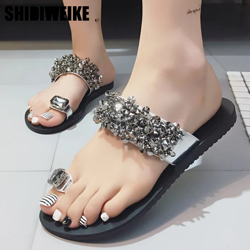 5987128f9 2019 женские босоножки Вьетнамки новые летние Модные туфли на плоской  подошве со стразами Кристалл Леди Повседневная