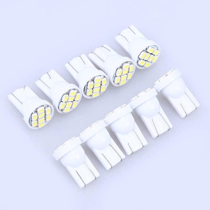 POSSBAY uniwersalny do samochodów ciężarówka wnętrze kupić 10 sztuk dostać 2 sztuk 8SMD W5W 1206 kopuły indeks lampa LED światła żarówki samochodowe akcesoria