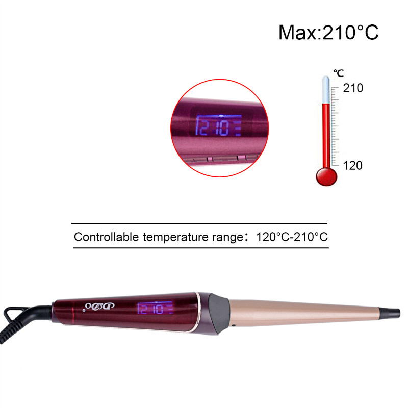 Professional Magic Tourmaline Ceramic Cone Shape Barrel 13-25mm Hair Curling Iron LCD Display Hair Curler styling tool+glove PJ acevivi professional hair curler conical curling iron single tube ceramic glaze cone automatic electric magic hair styling tool