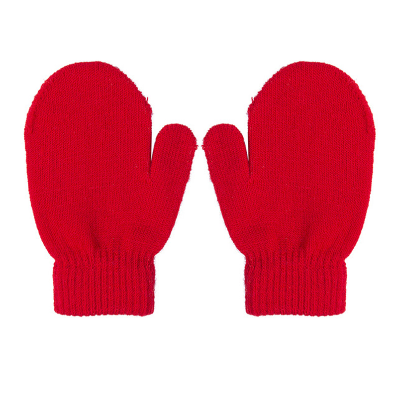 Solid Toddler Gloves Winter Kintting Mittens Kids Black White Red Warm Gloves Unisex Magic Elasticity Crochet Luvas Guantes Girl