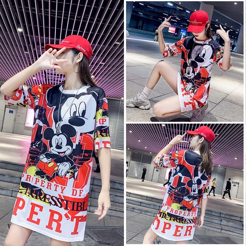 16 Colors Beautiful  New Spring Summer Film Pink Mickey T-shirt Printing Mesh Female Thai Popular Speed Dry Ice Silk Women Tops