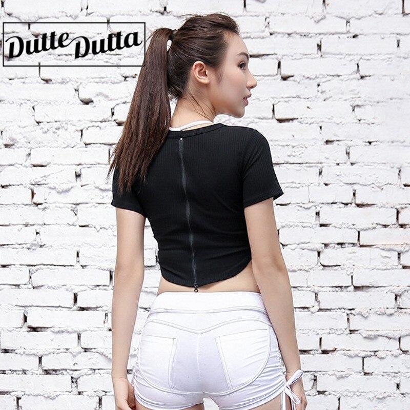 Duttedutta Sexy Zipper Yoga Crop Tops Shirts Outdoor Gym Fitness Running Sports T-Shirt Yoga Tee Tops Short Sleeve T Shirts