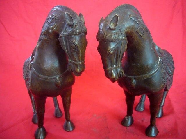 Rare ancienne dynastie chinoise Qing paire cuivre Statue chevaux/meilleure collection et parure, livraison gratuite