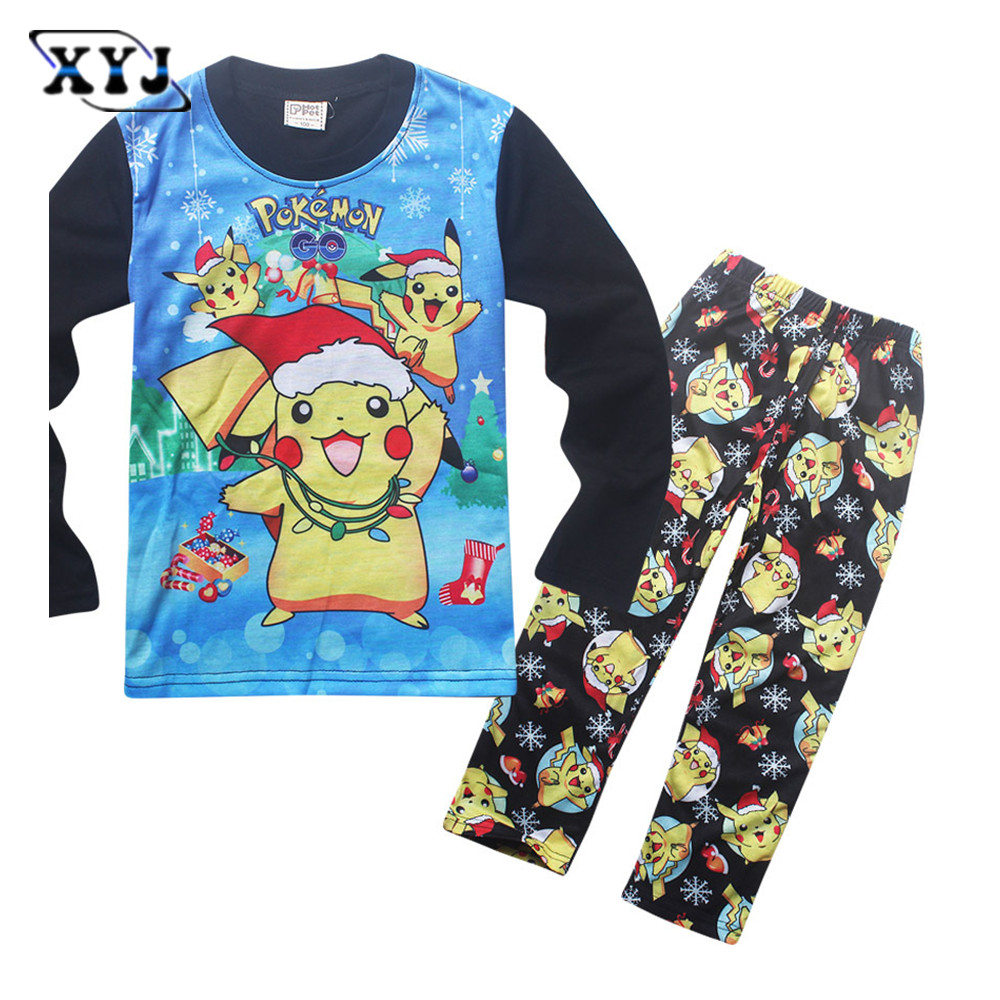 online get cheap pajamas kids christmas com alibaba 2016 children pajamas kids sets christmas pokemon pajamas suit long sleeve cartoon boys girls clothing set