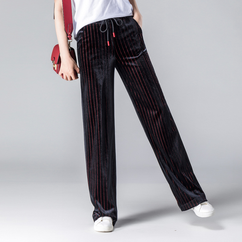 2018 New Arrival Women's Elastic Drawstring Gold Velvet High Waist   Wide     Leg     Pants   Printing Drape Fashion Loose Trousers Big Size