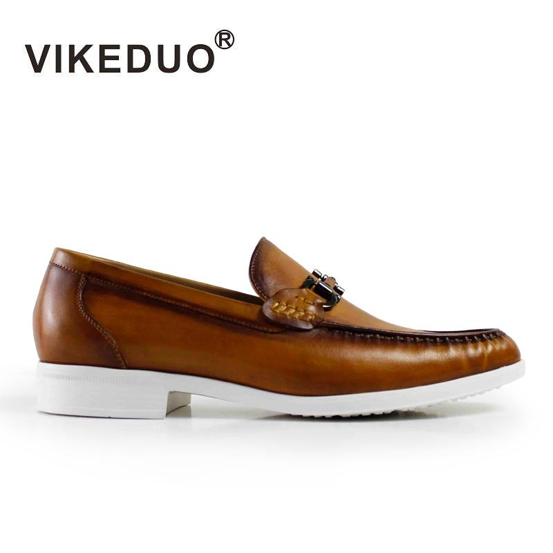 Vikeduo 2018 Designer Retro Handmade Fashion Casual Brand Wedding Party Dance Male Shoe Genuine Leather Mens Loafer Dress Shoes все цены