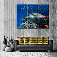 Pretty Sea Turtle Wall Art 3 Panels Modular High Quality Picture Prints Canvas Painting For Bedroom