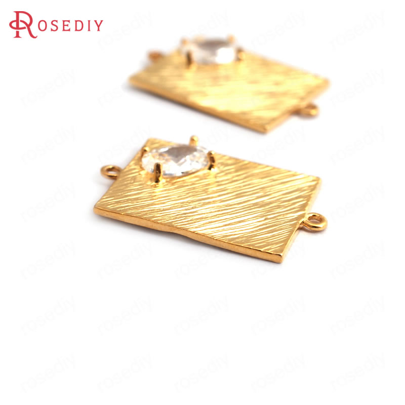 34917 6PCS 19x12MM 24K Gold Color Brass Zircon Rectangle Connect Charms