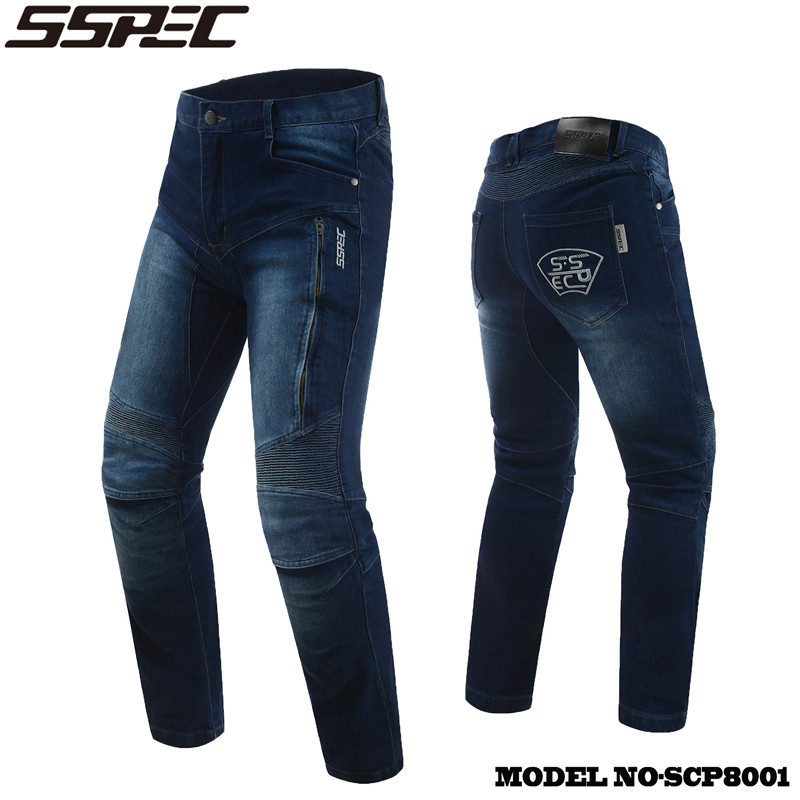 SSPEC Windproof Motorcycle pants Jeans Casual Pants Men's Motorbike Motocross Off-Road Knee Protective racing pantalon moto 2017 scoyco motorcycle riding knee protector extreme sports knee pads bycle cycling bike racing tactal skate protective ear