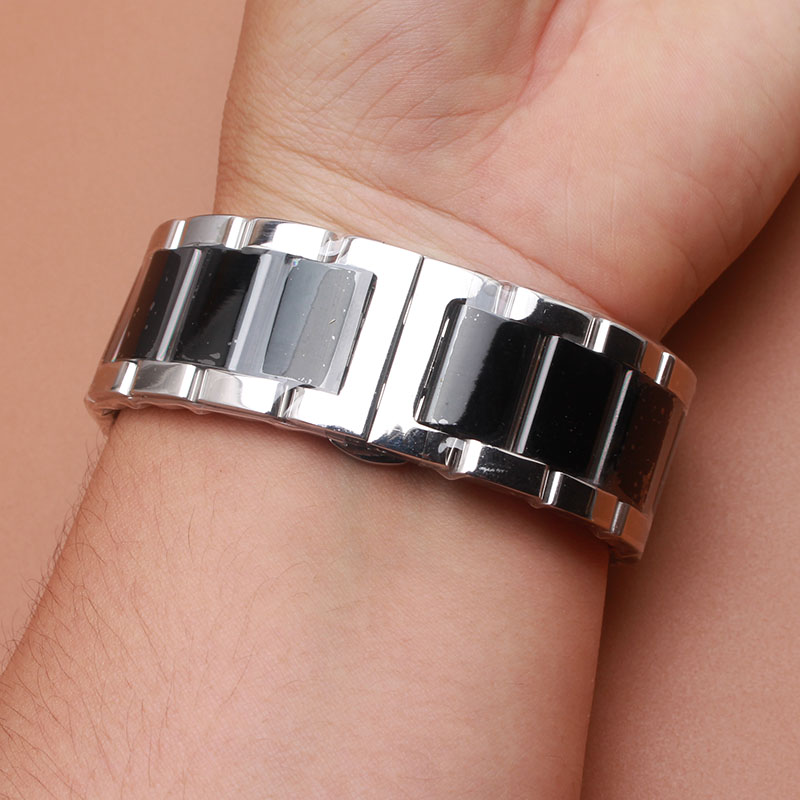 Silver and black watchband bracelet strap 18mm 20mm 22mm 23mm High Quality Metal Stainless steel Watch