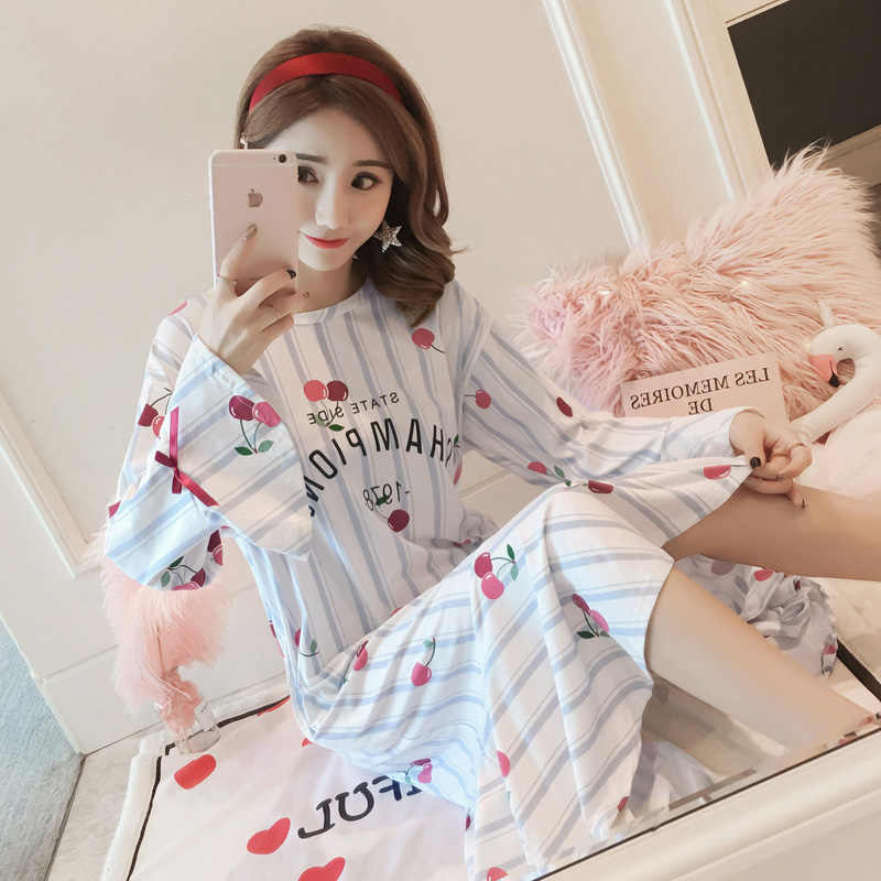 90563081ba ... Cotton Nightdress Female spring and autumn Dress Nightgowns women long  sleeved Night Dress Simple Indoor Clothing ...