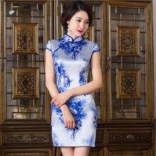 clearance sale China Flower dress chi-pao Women's Cheongsam Delicate Party Dresses Mini Evening Dress vestidos Size:S M L XL XXL