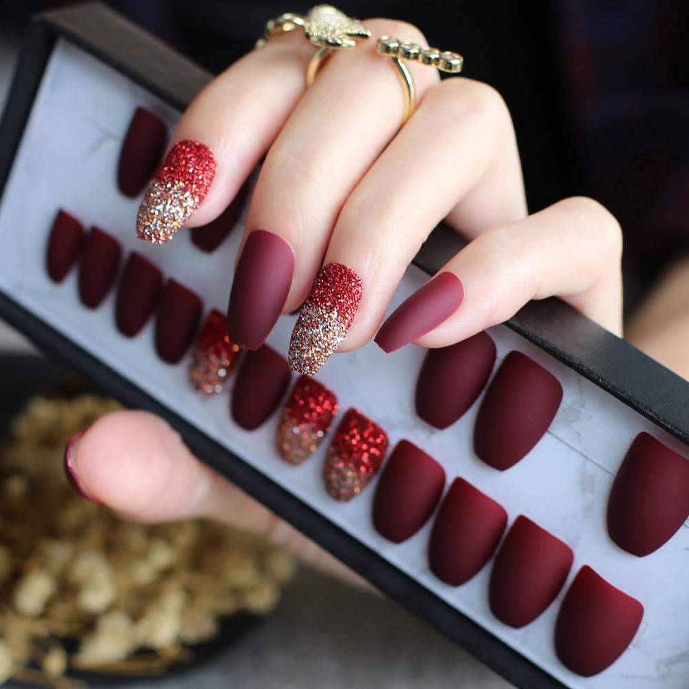 Burgundy Ombre glitter fake nails coffin blue full set ...