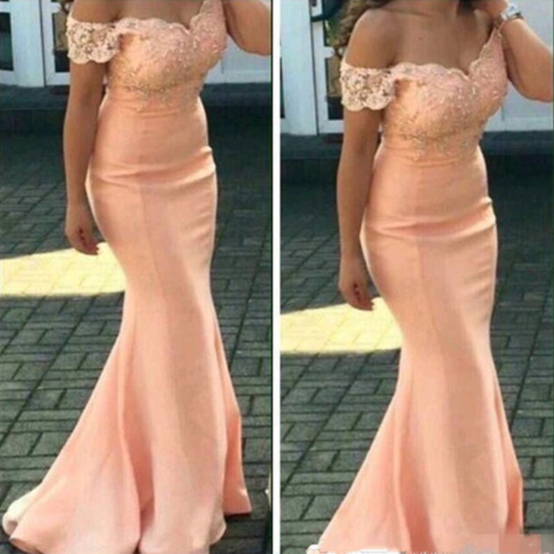 Custom Make Arabic   Bridesmaids     Dresses   Off Shoulder Peach Mermaid Maid of the Honor Wedding Guest   Dress   vestido de festa longo